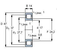 Чертеж-схема подшипника NJ303 ECP