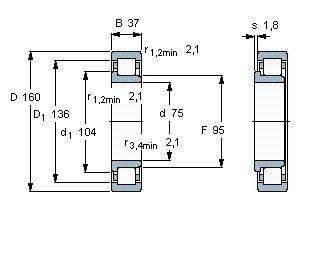 Чертеж-схема подшипника NJ315 ECJ