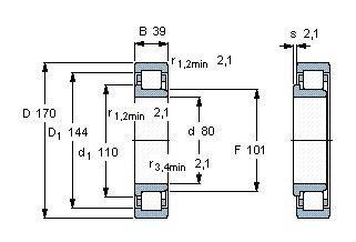Чертеж-схема подшипника NJ316 ECJ