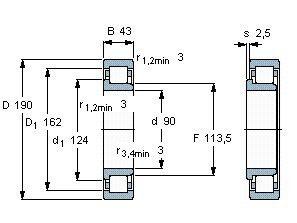 Чертеж-схема подшипника NJ318 ECJ