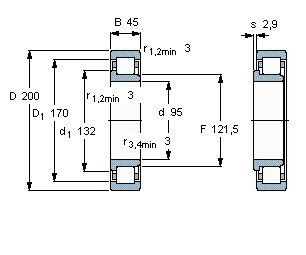 Чертеж-схема подшипника NJ319 ECJ