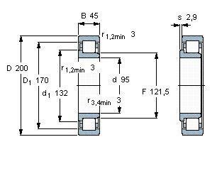 Чертеж-схема подшипника NJ319 ECP