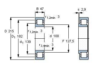 Чертеж-схема подшипника NJ320 ECJ