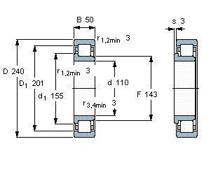 Чертеж-схема подшипника NJ322 ECJ
