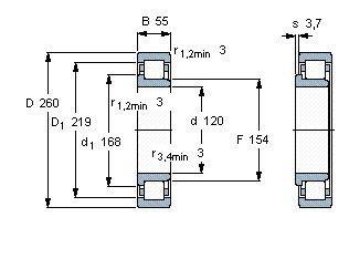 Чертеж-схема подшипника NJ324 ECJ