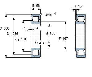 Чертеж-схема подшипника NJ326 ECJ