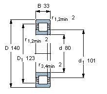 Чертеж-схема подшипника NUP2216 ECP