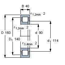 Чертеж-схема подшипника NUP2218 EAP