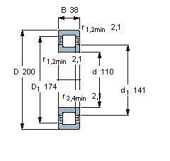 Чертеж-схема подшипника NUP222 ECP