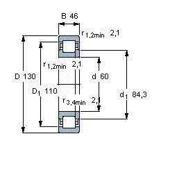 Чертеж-схема подшипника NUP2312 ECP