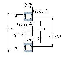 Чертеж-схема подшипника NUP314 ECP