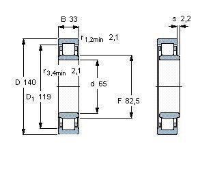 Чертеж-схема подшипника NU313 ECJ