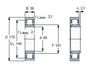 Чертеж-схема подшипника NU316 ECP