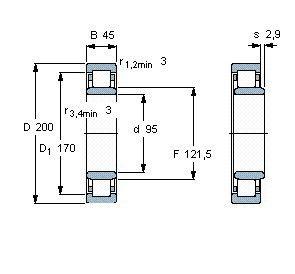 Чертеж-схема подшипника NU319 ECM