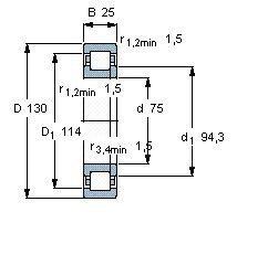 Чертеж-схема подшипника NUP215 EAP