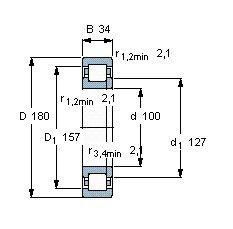 Чертеж-схема подшипника NUP220 ECP