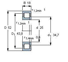 Чертеж-схема подшипника NUP2205 ECP