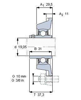 Чертеж-схема подшипника YAR 204-012-2FW/VA228 SKF