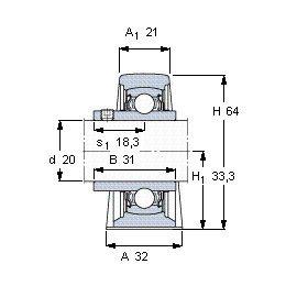 Чертеж-схема подшипника YAR 204-2FW/VA228 SKF