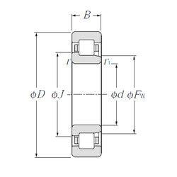 Чертеж-схема подшипника NJ326