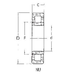 Чертеж-схема подшипника NU2208