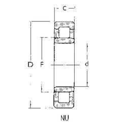 Чертеж-схема подшипника NU406