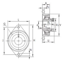 Чертеж-схема подшипника RCJT25-N-FA125 INA