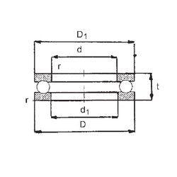 Чертеж-схема подшипника 0-16 FBJ
