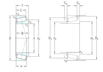 Чертеж-схема подшипника 07100S/07210X/Q SKF