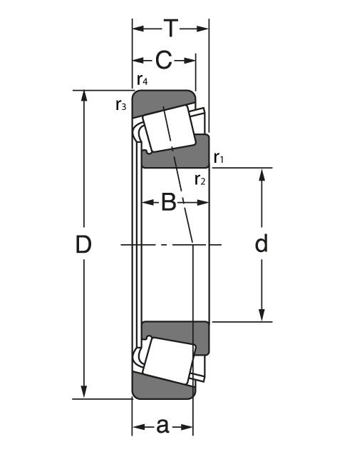 Чертеж-схема подшипника 07100 SA/07196 ROLEK