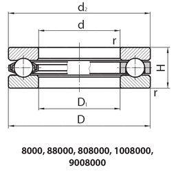 Чертеж-схема подшипника 10089/1180К