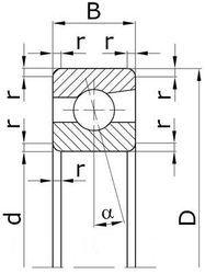 Чертеж-схема подшипника 1036872 Л