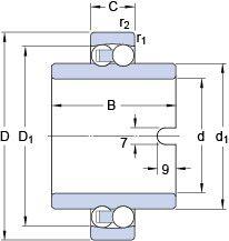 Чертеж-схема подшипника 11207 TN9 SKF