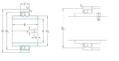 Чертеж-схема подшипника 11212TN9 SKF