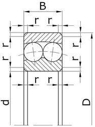Чертеж-схема подшипника 1209 У