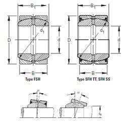 Чертеж-схема подшипника 14FSH30 Timken