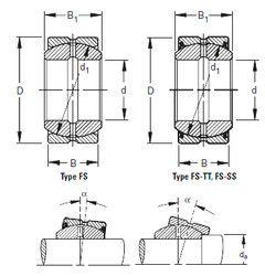 Чертеж-схема подшипника 16FS30 Timken