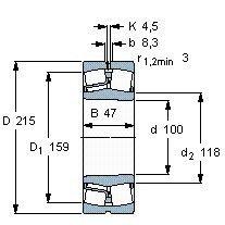 Чертеж-схема подшипника 21320 EK
