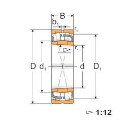 Чертеж-схема подшипника 22222 KW33 MPZ