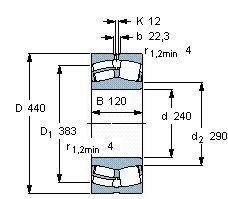 Чертеж-схема подшипника 22248 BMB