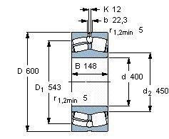 Чертеж-схема подшипника 23080 MB