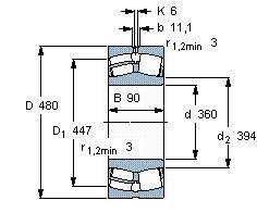 Чертеж-схема подшипника 23972 MB