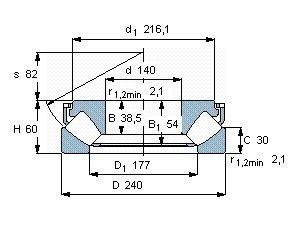 Чертеж-схема подшипника 29328 E