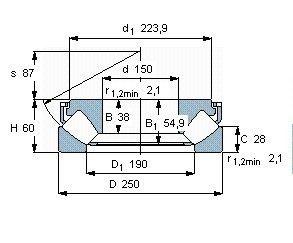 Чертеж-схема подшипника 29330 E