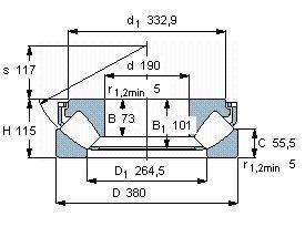 Чертеж-схема подшипника 29438 E