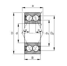 Чертеж-схема подшипника 3000-B-2Z-TVH FAG