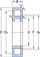 Чертеж-схема подшипника 314756 SKF