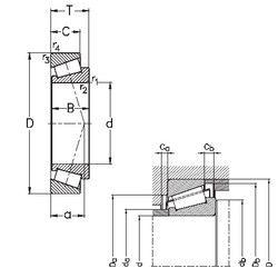Чертеж-схема подшипника 32038