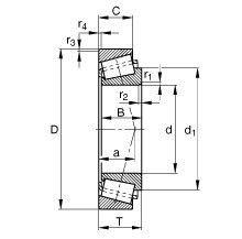 Чертеж-схема подшипника 33016 J