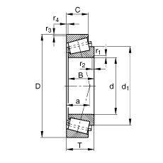 Чертеж-схема подшипника 33206